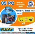 COMPUTADORAS PARA CYBER CAFÉ 05 COMPUTADORAS HP,CON 16GB DE RAM, 05 MUEBLES+05 AUDIFONOS A