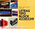 LETRAS TIPO BLOCK, CON LUZ Y SIN LUZ