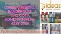 LONAS VINILICAS, BANDEROLAS TIPO GOTA, ADHESIVO MESH